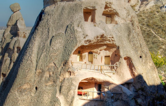 Cave houses in Uchisar Cappadocia